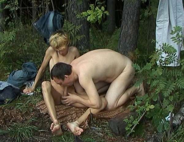 Man sucks blond twink in the woods
